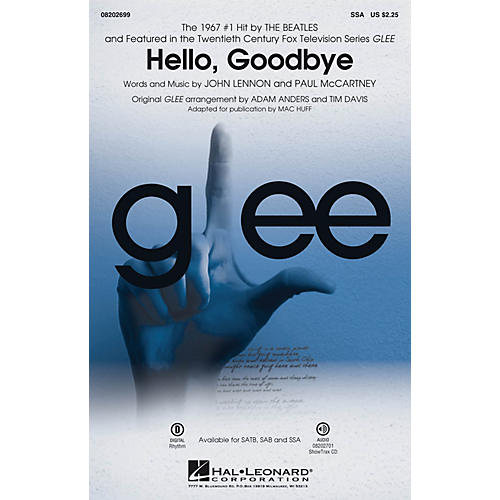 Hal Leonard Hello, Goodbye (featured in Glee) SSA by Glee Cast arranged by Adam Anders thumbnail