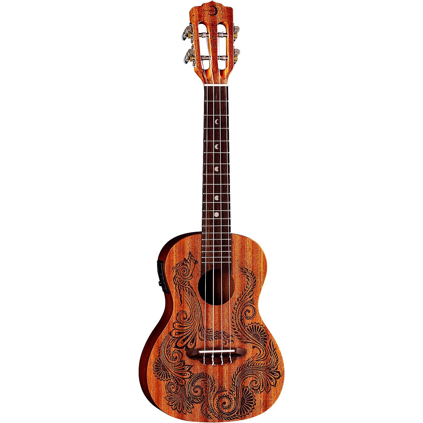 Luna Guitars Henna Dragon Mahogany Concert Acoustic-Electric Ukulele thumbnail