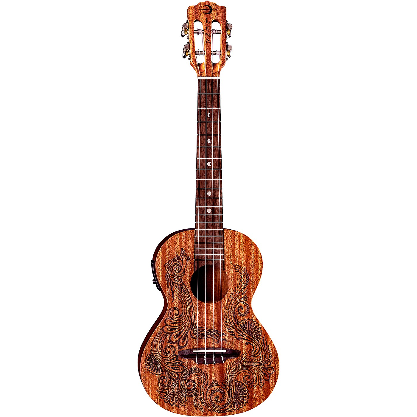Luna Guitars Henna Dragon Mahogany Tenor Acoustic-Electric Ukulele thumbnail