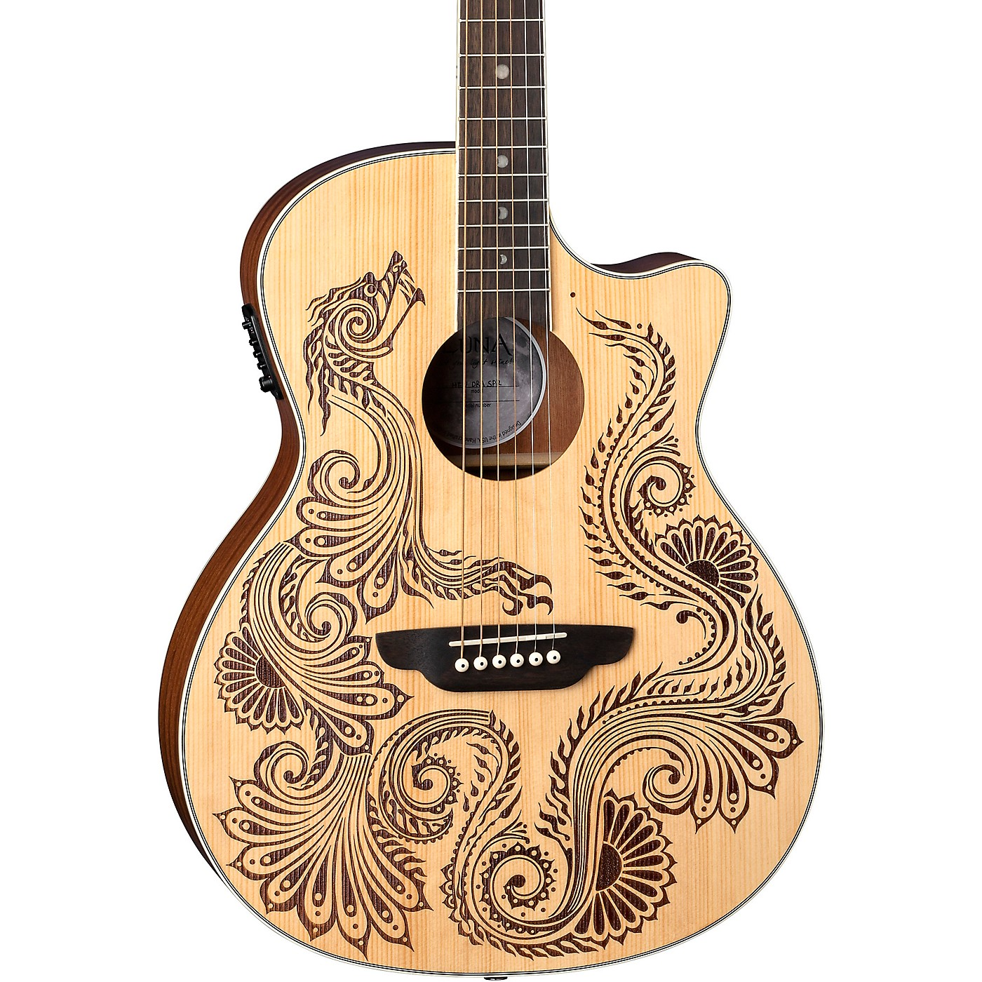 Luna Guitars Henna Dragon Select Spruce Acoustic/Electric Guitar thumbnail