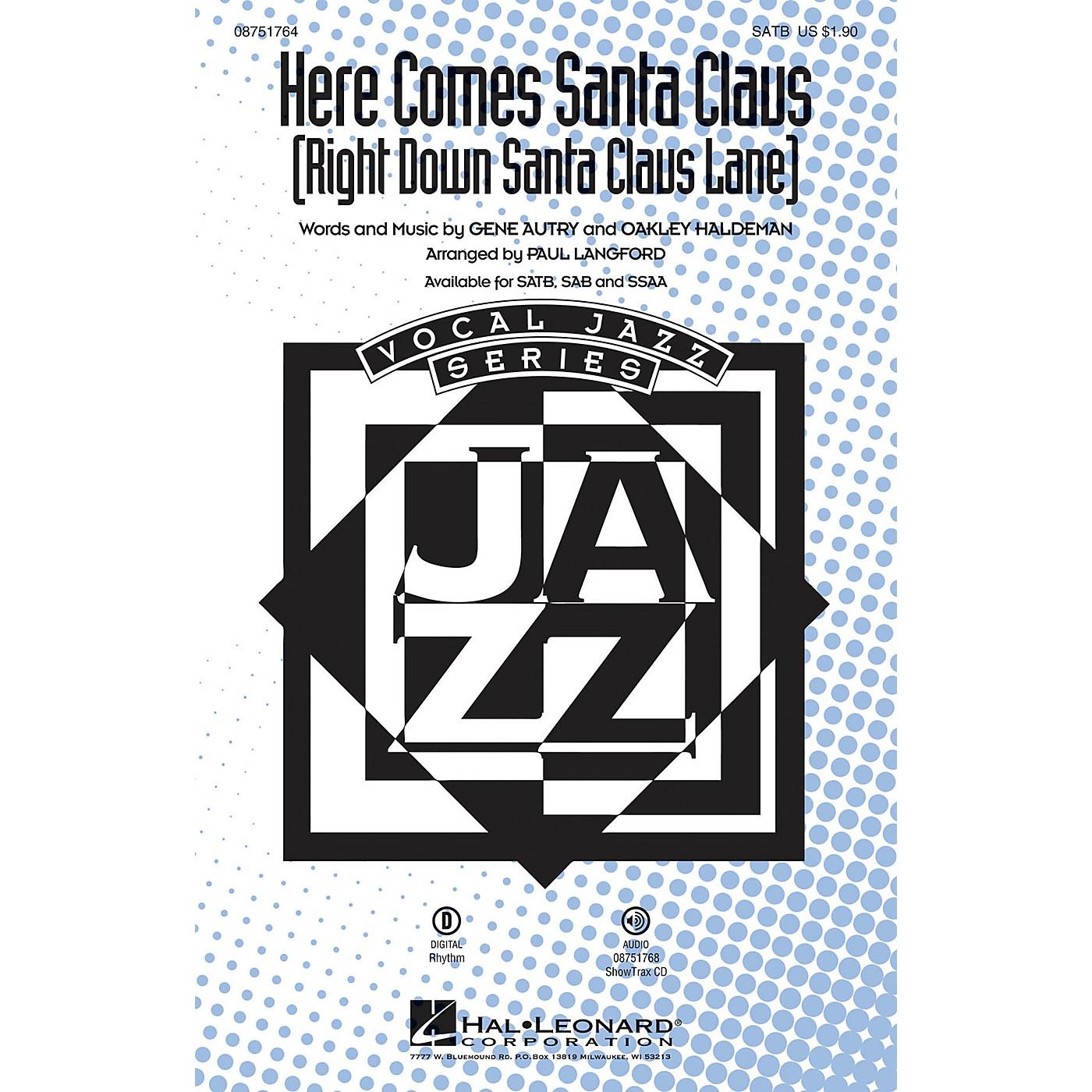 Hal Leonard Here Comes Santa Claus (Right Down Santa Claus Lane) SATB arranged by Paul Langford thumbnail