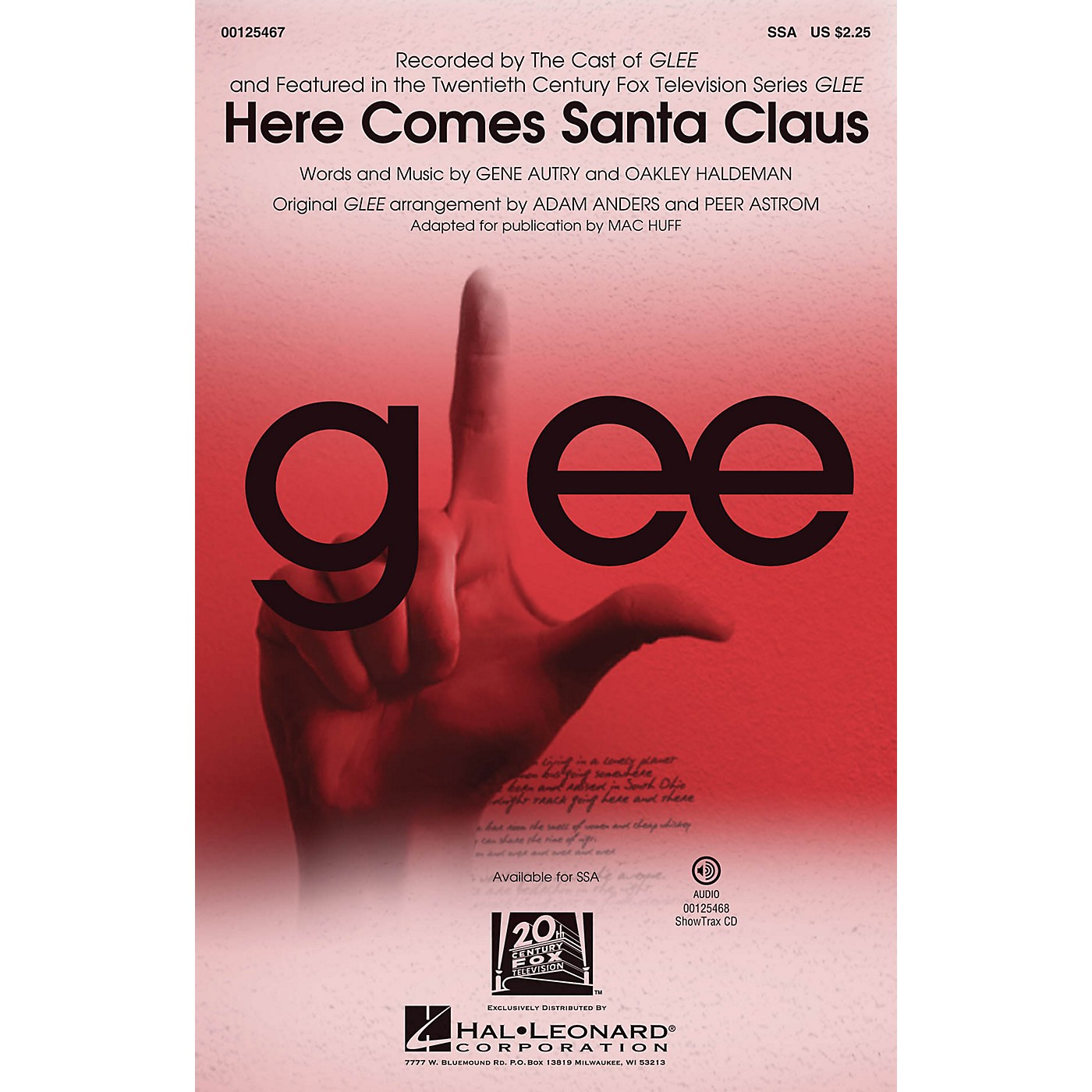 Hal Leonard Here Comes Santa Claus SSA by Glee Cast arranged by Mac Huff thumbnail