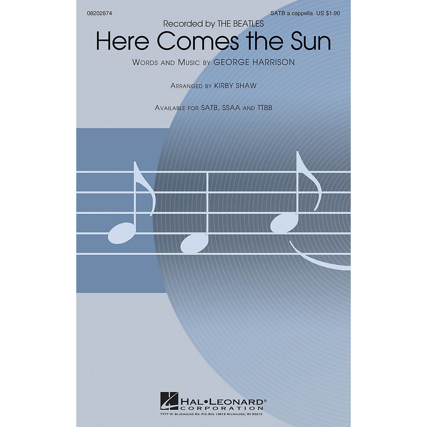 Hal Leonard Here Comes the Sun SATB a cappella by The Beatles arranged by Kirby Shaw thumbnail