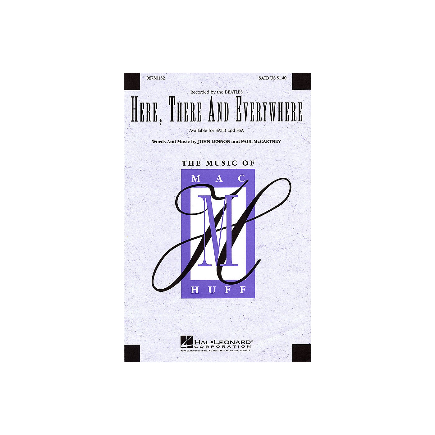 Hal Leonard Here, There and Everywhere SSA A Cappella by The Beatles Arranged by Mac Huff thumbnail