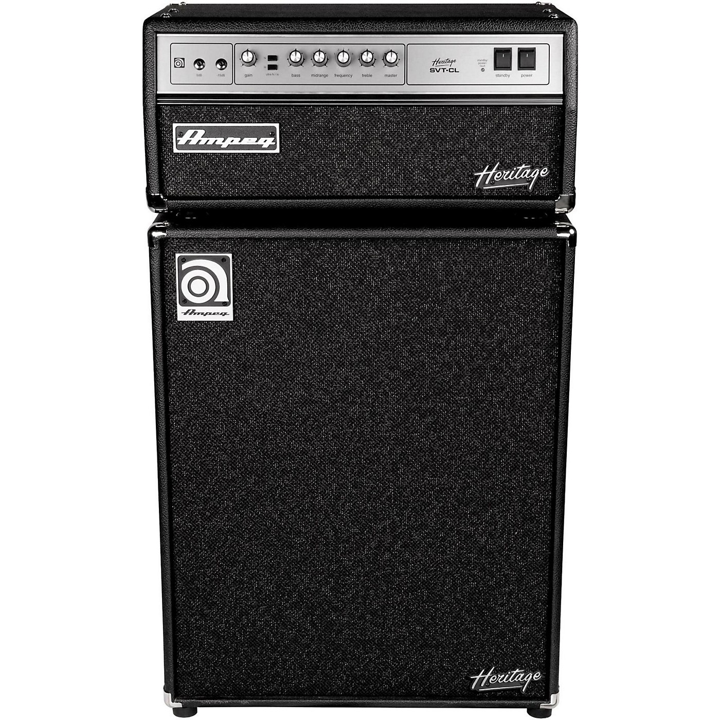 Ampeg Heritage SVT-CL 300W Tube Bass Amp Head with 4x10 500W Bass Speaker Cab thumbnail