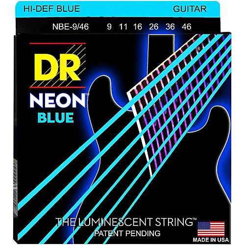 DR Strings Hi-Def NEON Blue Coated Lite-Heavy (9-46) Electric Guitar Strings thumbnail