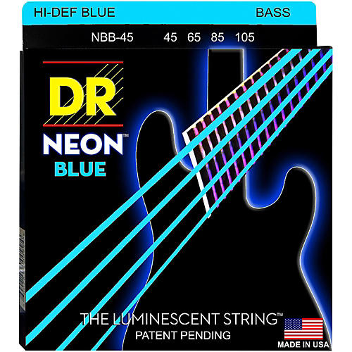 DR Strings Hi-Def NEON Blue Coated Medium 4-String (45-105) Bass Guitar Strings thumbnail