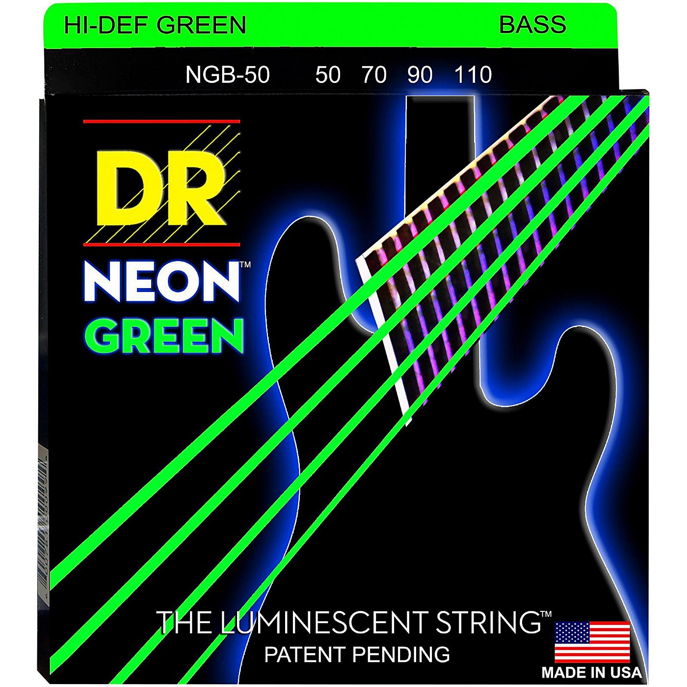 DR Strings Hi-Def NEON Green Coated 4-String Bass Strings Heavy (50-110) thumbnail