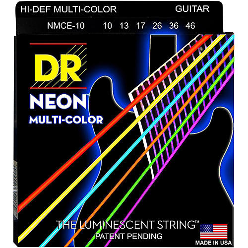 DR Strings Hi-Def NEON Multi-Color Coated Medium Electric Guitar Strings thumbnail