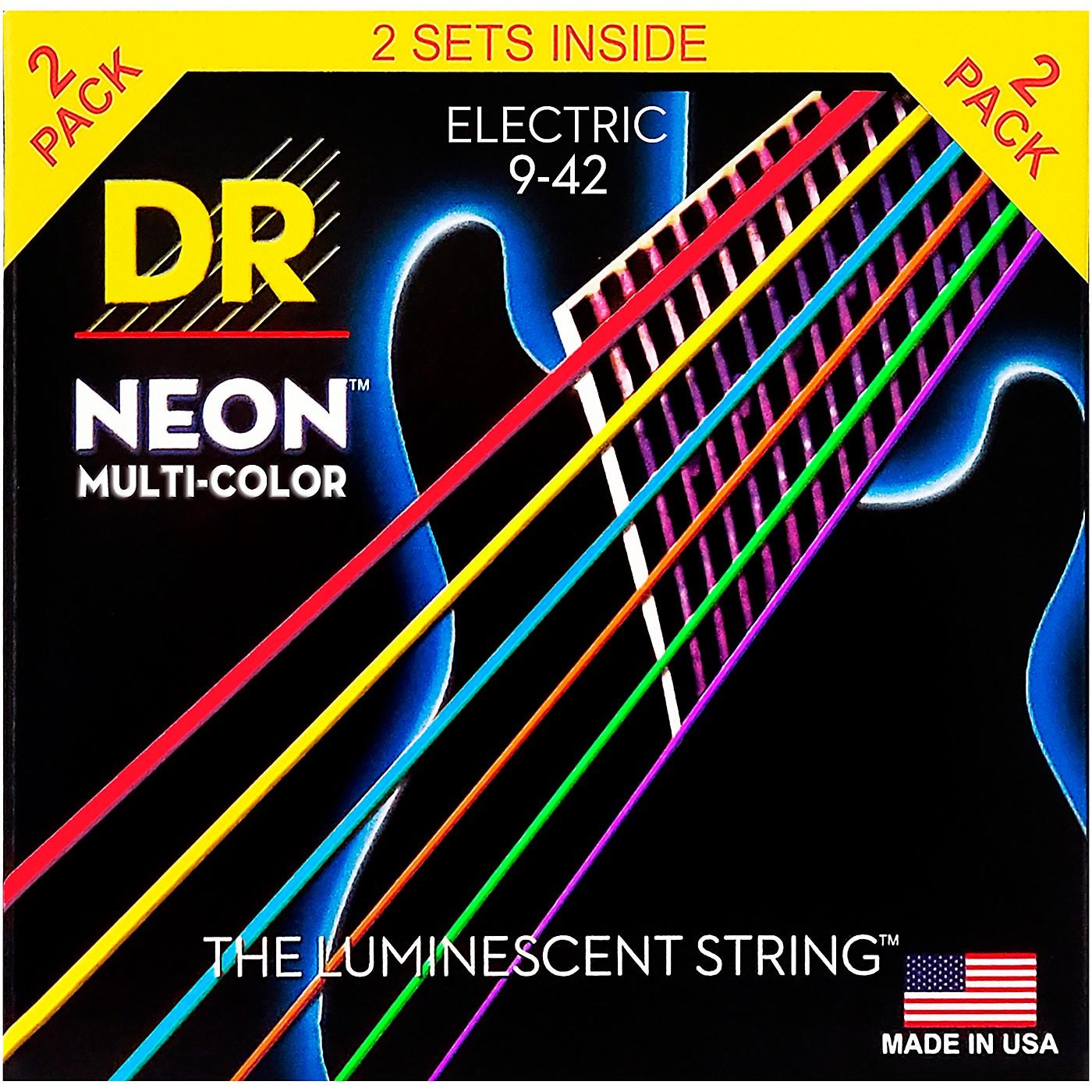 DR Strings Hi-Def NEON Multi-Color Light Electric Guitar Strings (9-42) 2 Pack thumbnail
