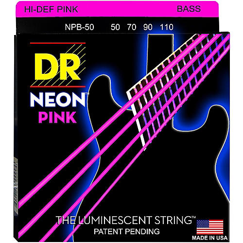 DR Strings Hi-Def NEON Pink Coated 4-String Bass Strings Heavy (50-110) thumbnail