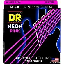 DR Strings Hi-Def NEON Pink Coated Medium 7-String Electric Guitar Strings (10-56)