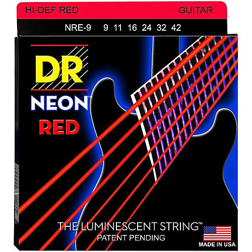 DR Strings Hi-Def NEON Red Coated Light (9-42) Electric Guitar Strings thumbnail