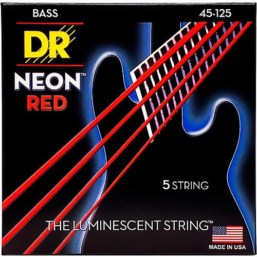 DR Strings Hi-Def NEON Red Coated Medium 5-String (45-125) Bass Guitar Strings thumbnail