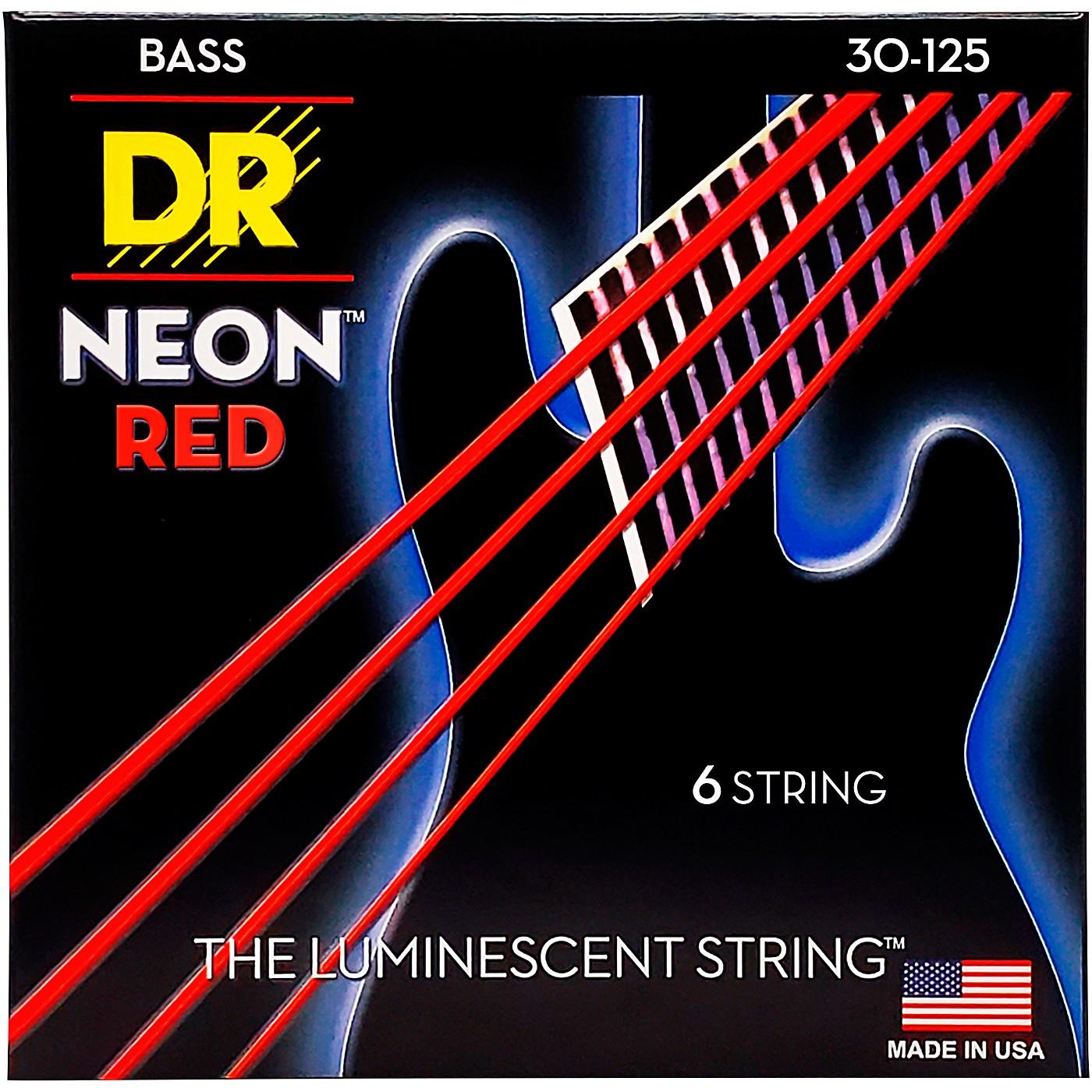 DR Strings Hi-Def NEON Red Coated Medium 6-String Bass Strings (30-125) thumbnail