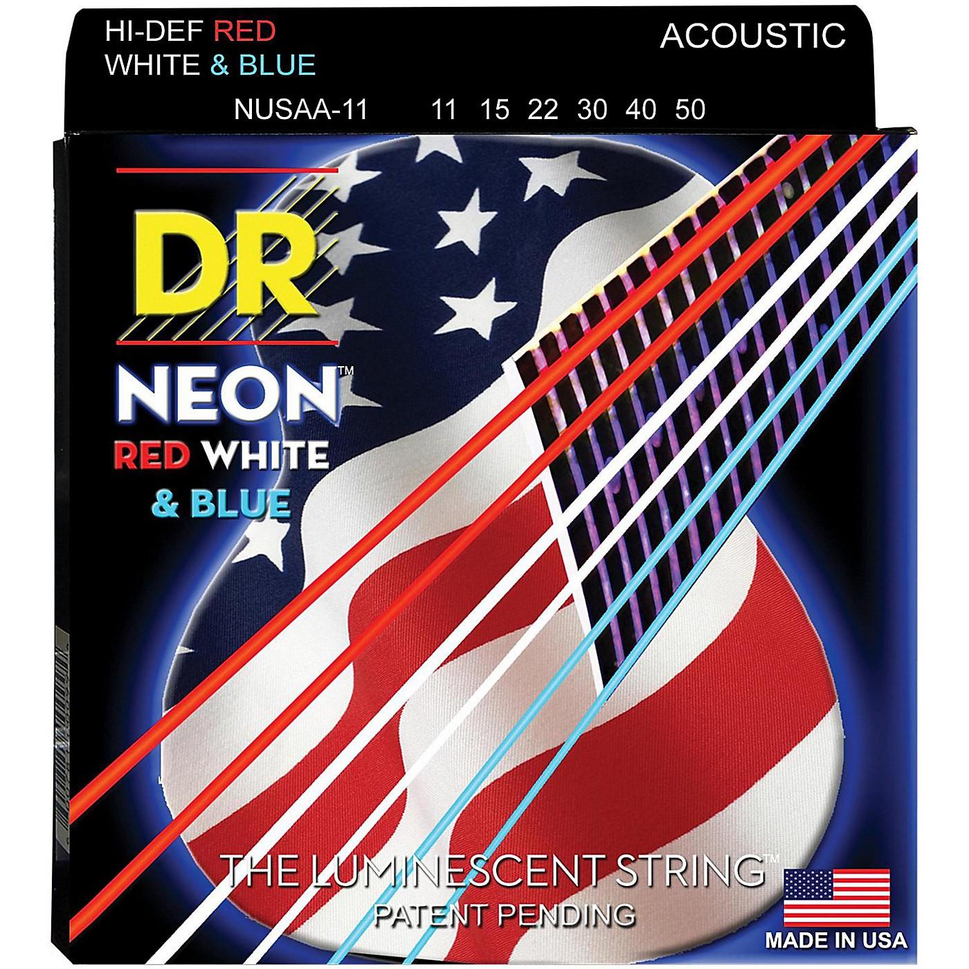 DR Strings Hi-Def NEON Red, White & Blue Acoustic Guitar Medium-Lite Strings thumbnail