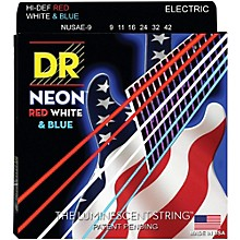 DR Strings Hi-Def NEON Red, White & Blue Electric Guitar Lite Strings
