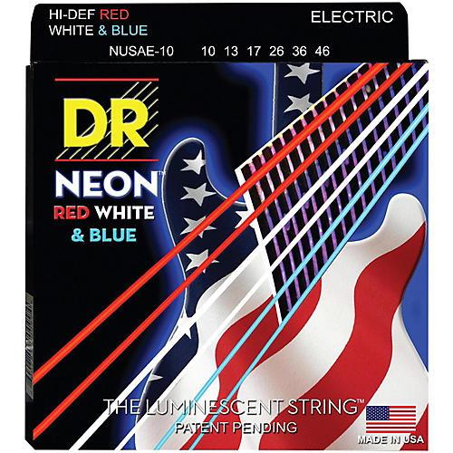 DR Strings Hi-Def NEON Red, White & Blue Electric Guitar Medium Strings thumbnail