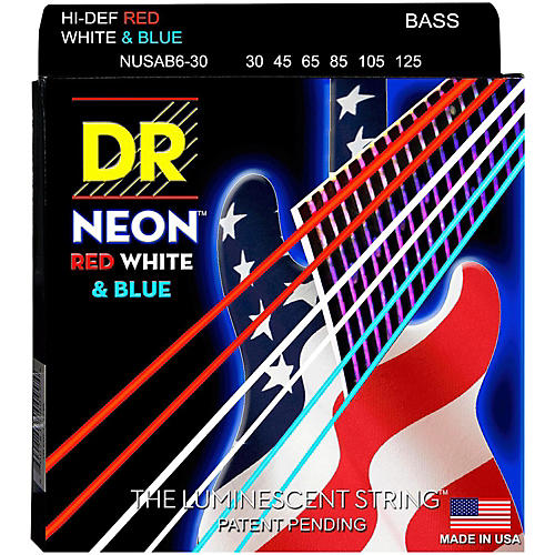 DR Strings Hi-Def NEON Red, White & Blue Electric Medium 6-String Bass Strings thumbnail