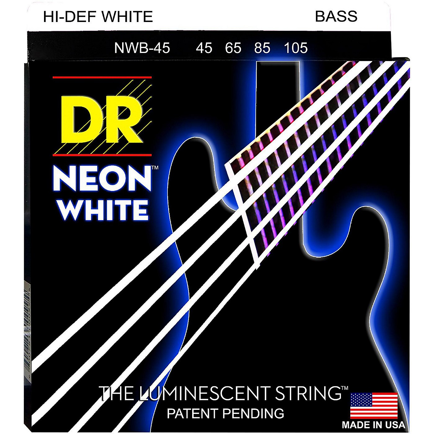 DR Strings Hi-Def NEON White Coated Medium 5-String Bass Strings thumbnail