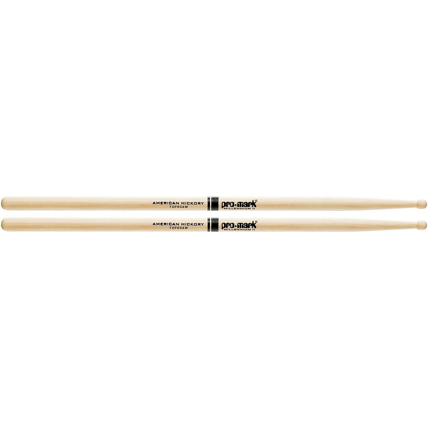 Promark Hickory 5A Pro-Round Wood Drum Sticks thumbnail
