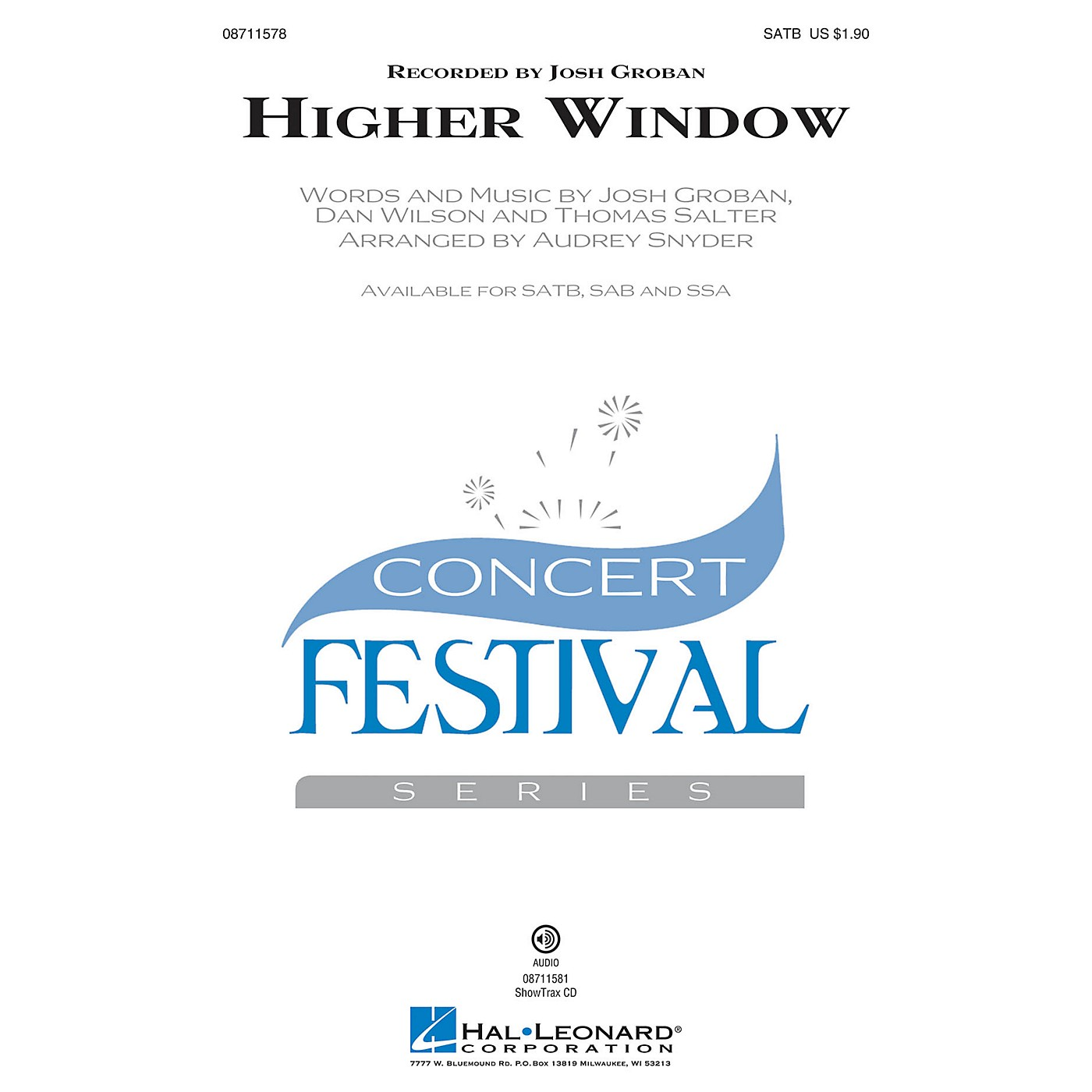 Hal Leonard Higher Window ShowTrax CD by Josh Groban Arranged by Audrey Snyder thumbnail