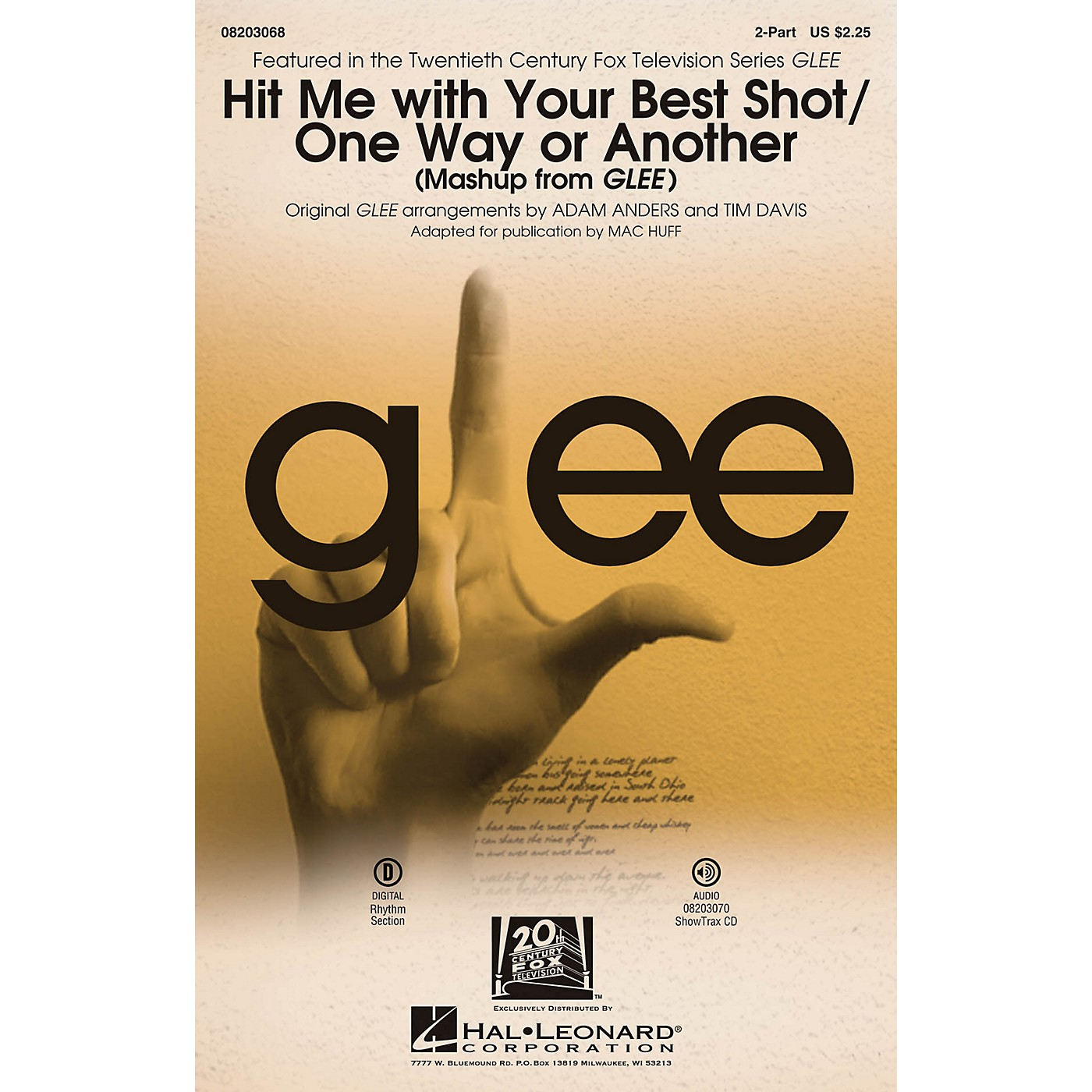 Hal Leonard Hit Me With Your Best Shot/One Way or Another (from Glee) 2-Part by Glee Cast arranged by Adam Anders thumbnail