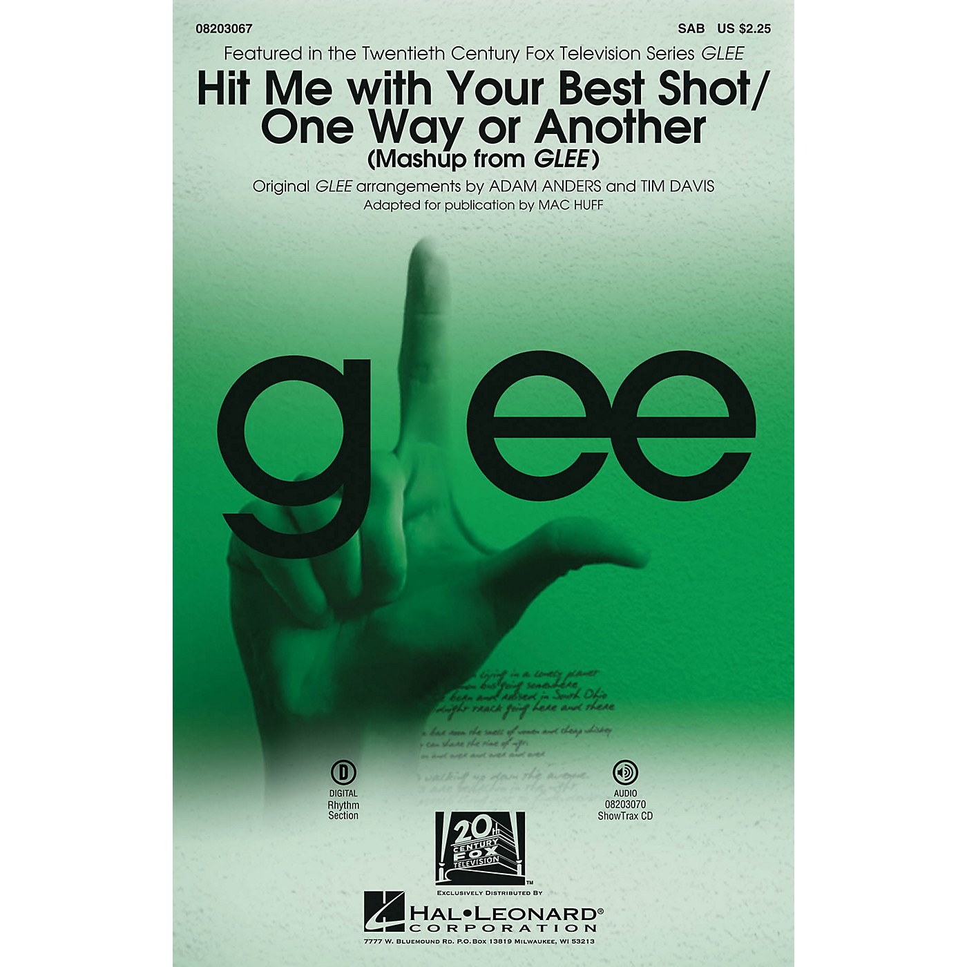 Hal Leonard Hit Me With Your Best Shot/One Way or Another (from Glee) SAB by Glee Cast arranged by Adam Anders thumbnail