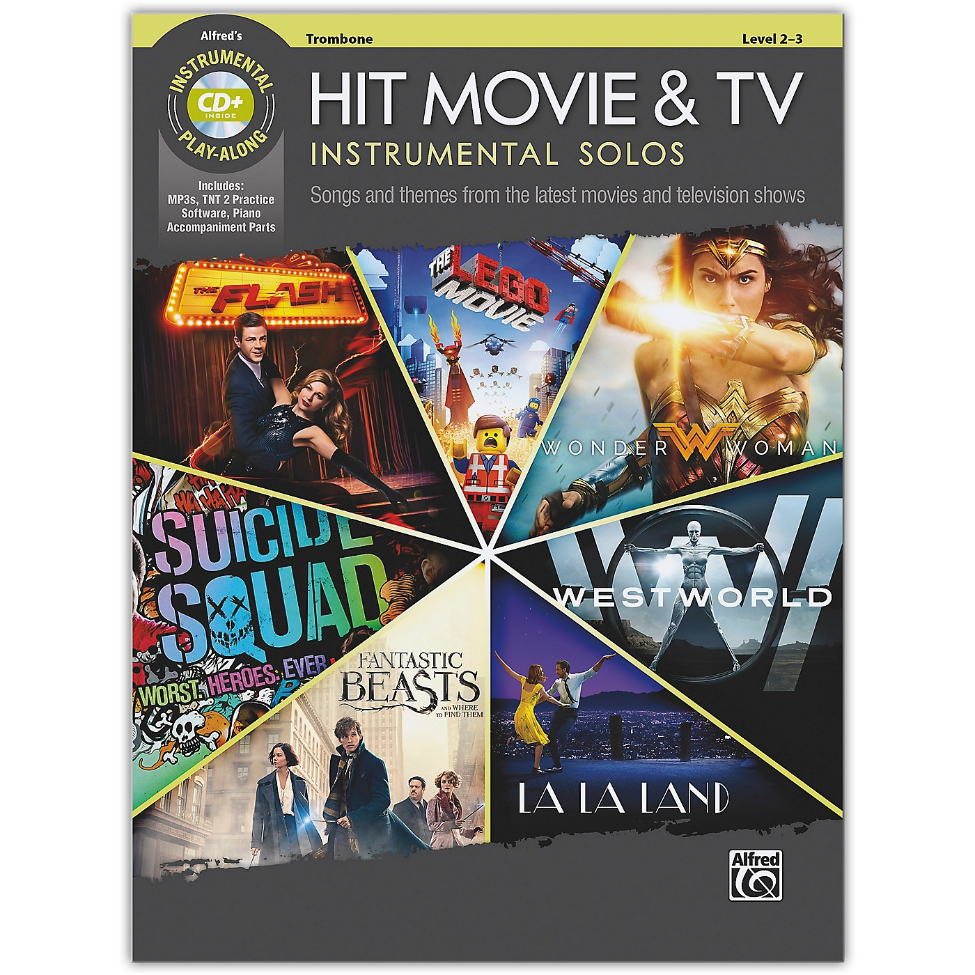 Alfred Hit Movie & TV Instrumental Solos Trombone Book & CD Level 2-3 thumbnail