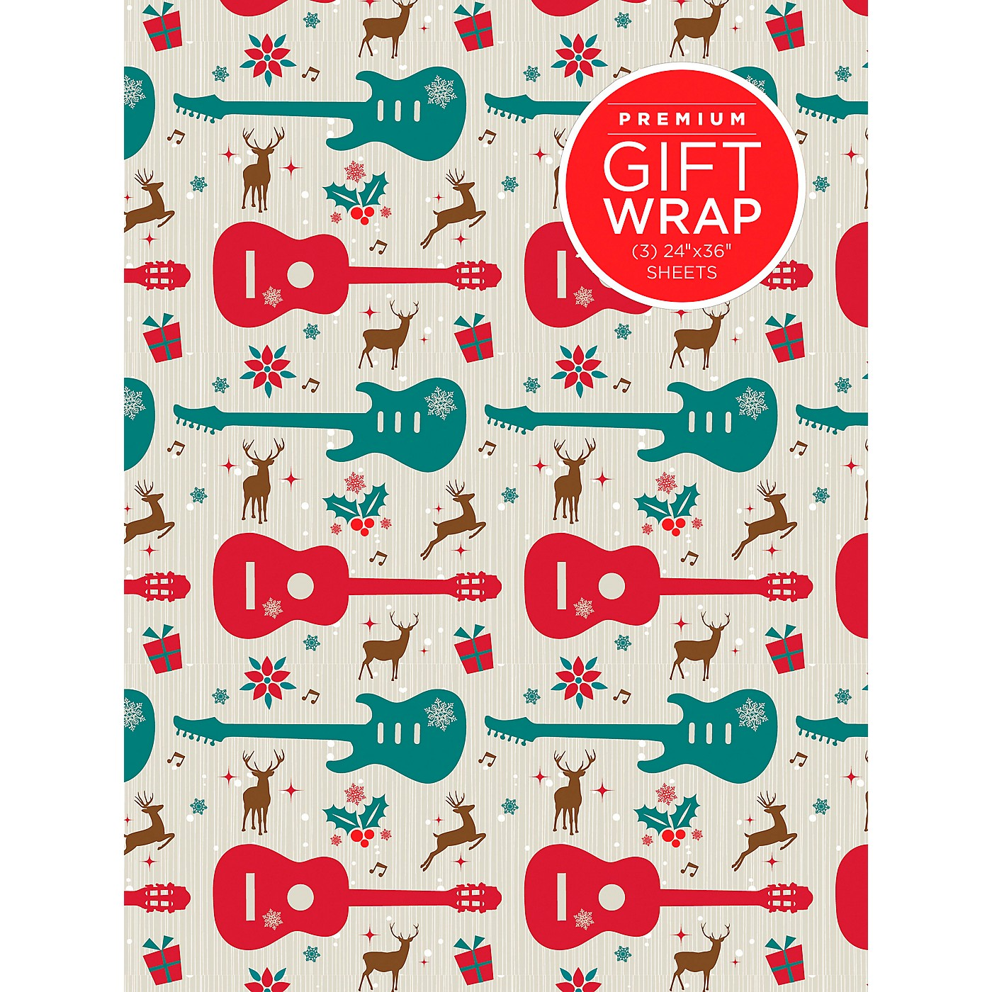 Hal Leonard Holiday Reindeer Guitar Premium Gift Wrapping Paper thumbnail