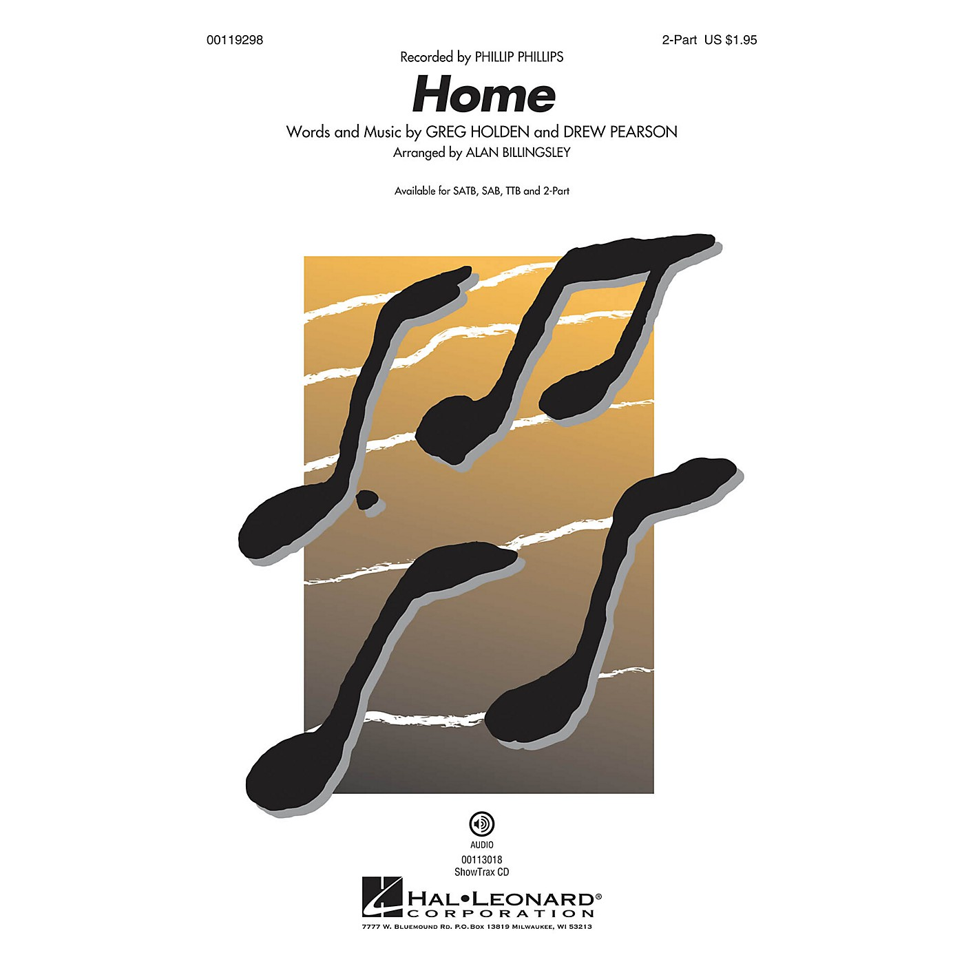 Hal Leonard Home (2-Part Mixed) 2-Part by Phillip Phillips arranged by Alan Billingsley thumbnail