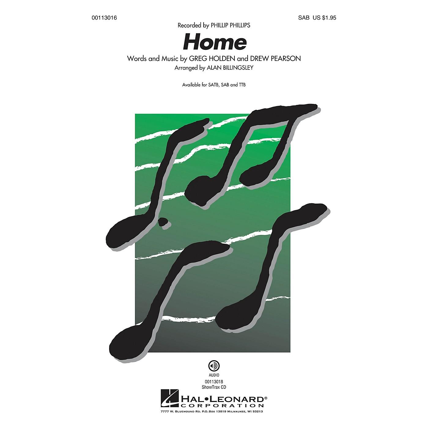 Hal Leonard Home (SAB) SAB by Phillip Phillips arranged by Alan Billingsley thumbnail