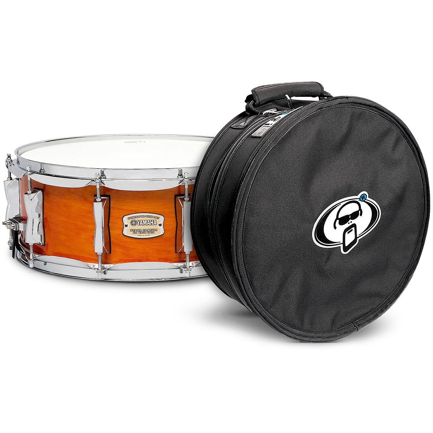 Yamaha Honey Amber Stage Custom Birch Snare with Protection Racket Case thumbnail