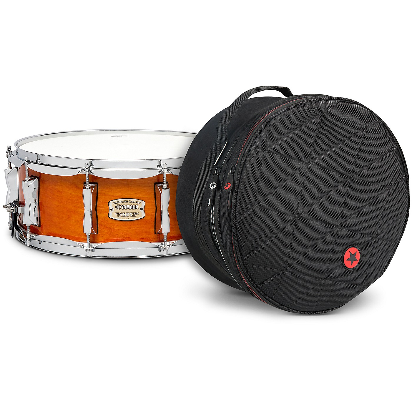 Yamaha Honey Amber Stage Custom Birch Snare with Road Runner Bag thumbnail