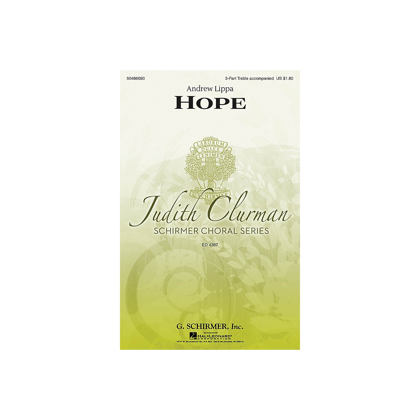 G. Schirmer Hope (Judith Clurman Choral Series) 3 Part Treble composed by Andrew Lippa thumbnail