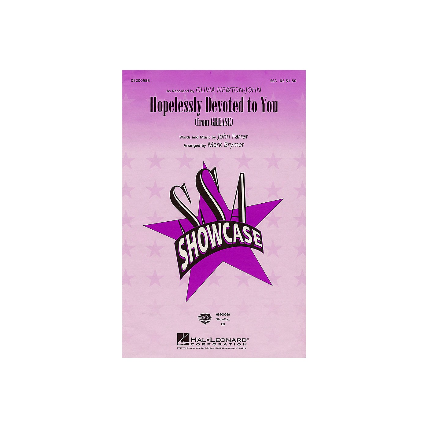Hal Leonard Hopelessly Devoted to You (from Grease) ShowTrax CD by Olivia Newton-John Arranged by Mark Brymer thumbnail