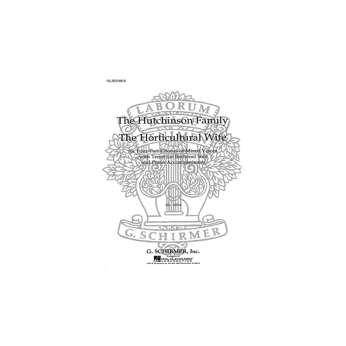 G. Schirmer Horticultural Wife (Ed. Smith With Tenor Or Bari Solo SATB by The Hutchinsons Family edited by G Smith thumbnail