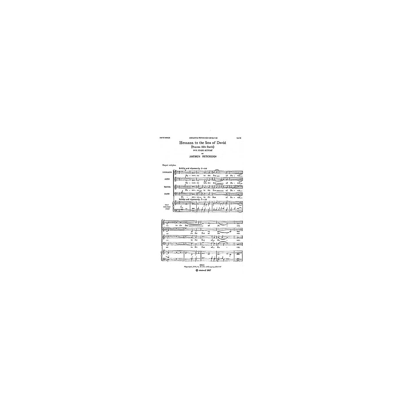 Music Sales Hosanna to the Son of David SATB Composed by Arthur Hutchings thumbnail