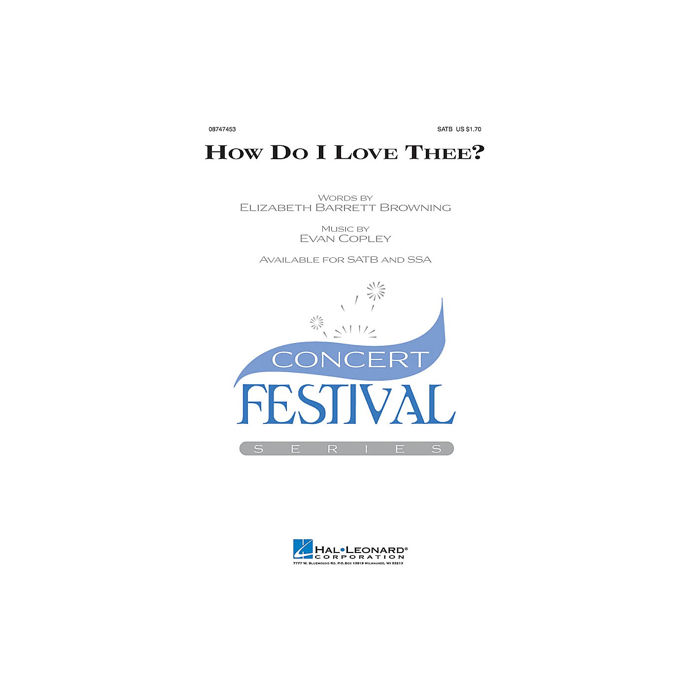 Hal Leonard How Do I Love Thee? SSA Composed by Evan Copley thumbnail