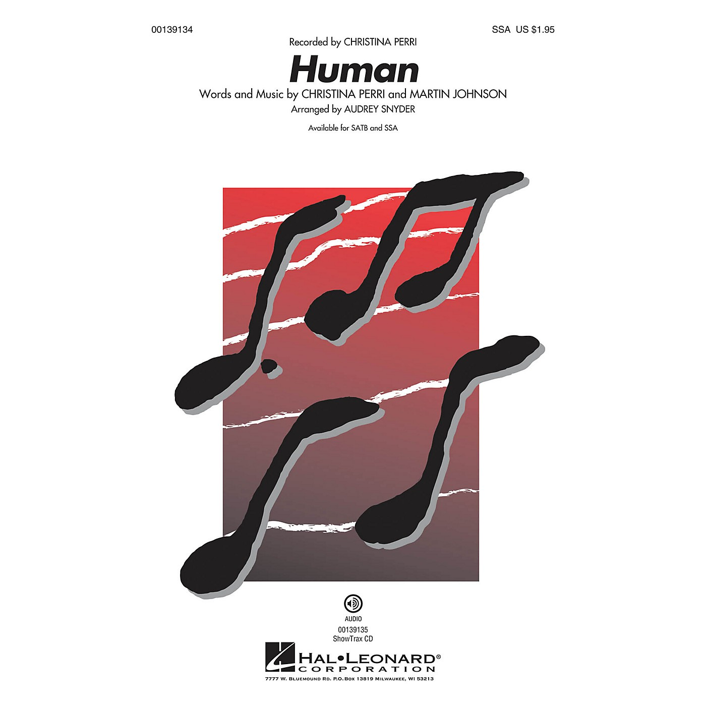Hal Leonard Human SSA by Christina Perri arranged by Audrey Snyder thumbnail