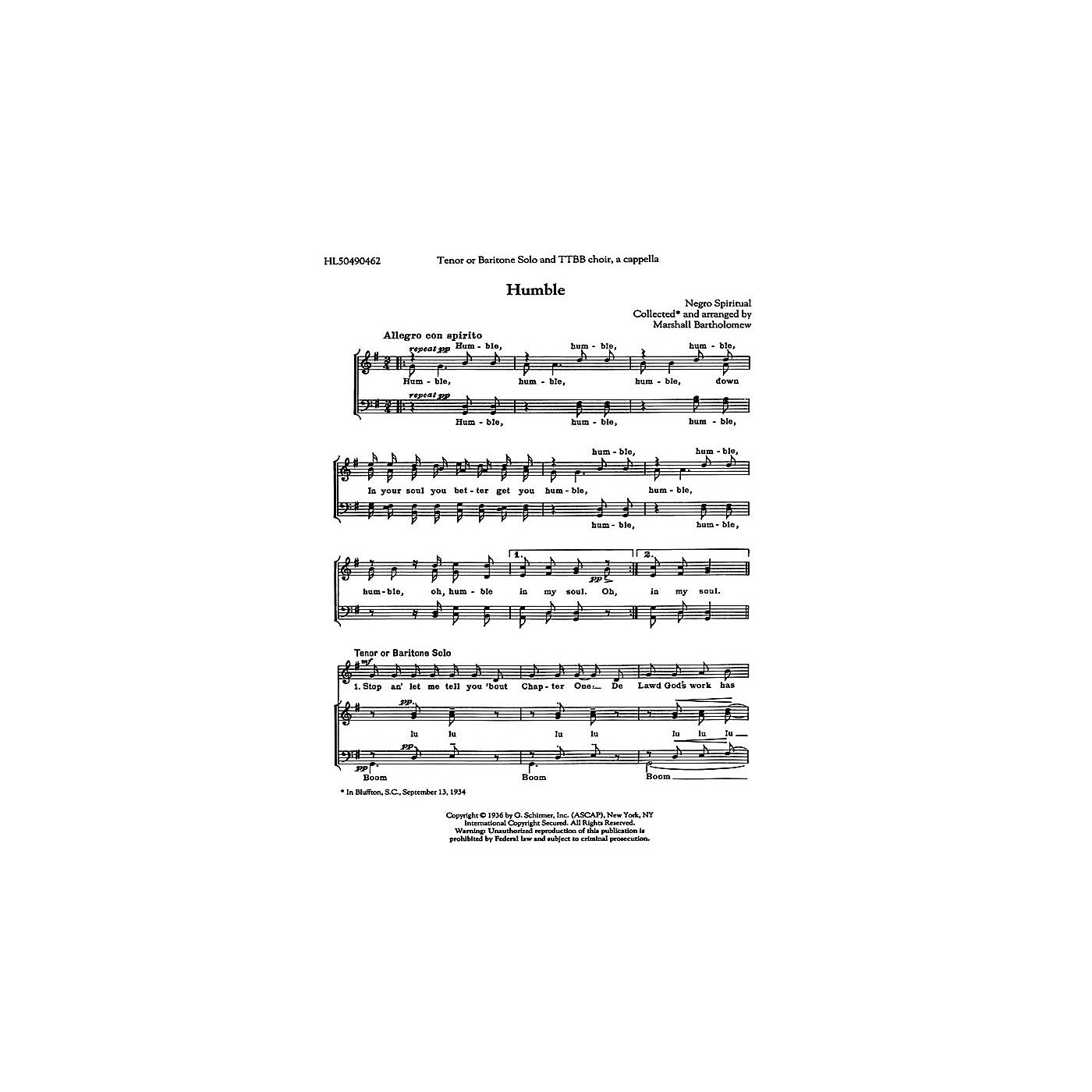 G. Schirmer Humble TTBB A Cappella arranged by Marshall Bartholomew thumbnail