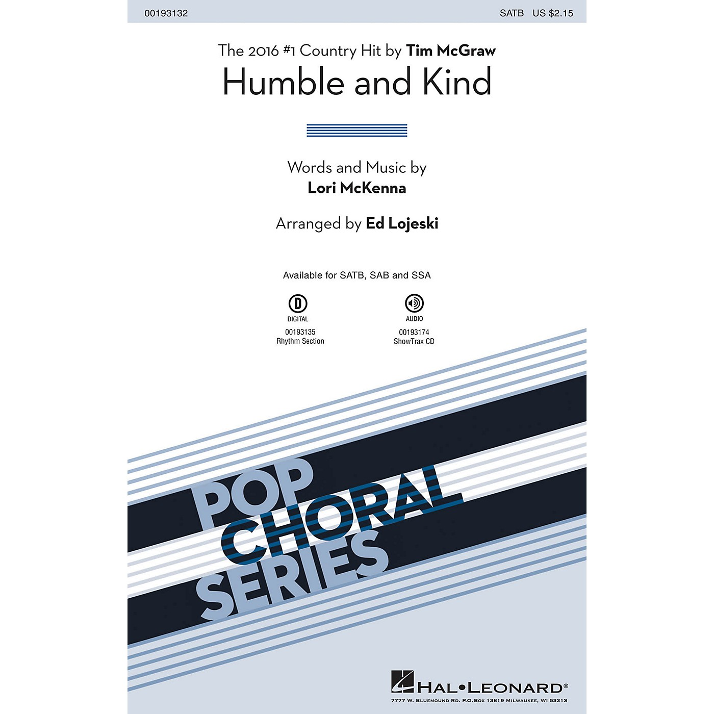 Hal Leonard Humble and Kind ShowTrax CD by Tim McGraw Arranged by Ed Lojeski thumbnail