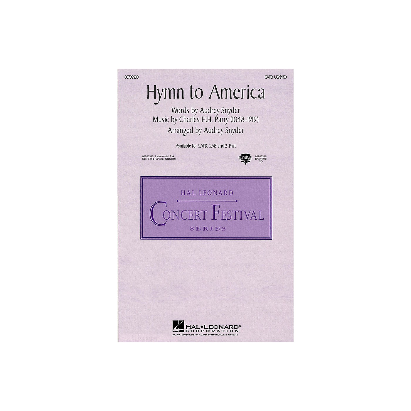 Hal Leonard Hymn to America ShowTrax CD Arranged by Audrey Snyder thumbnail