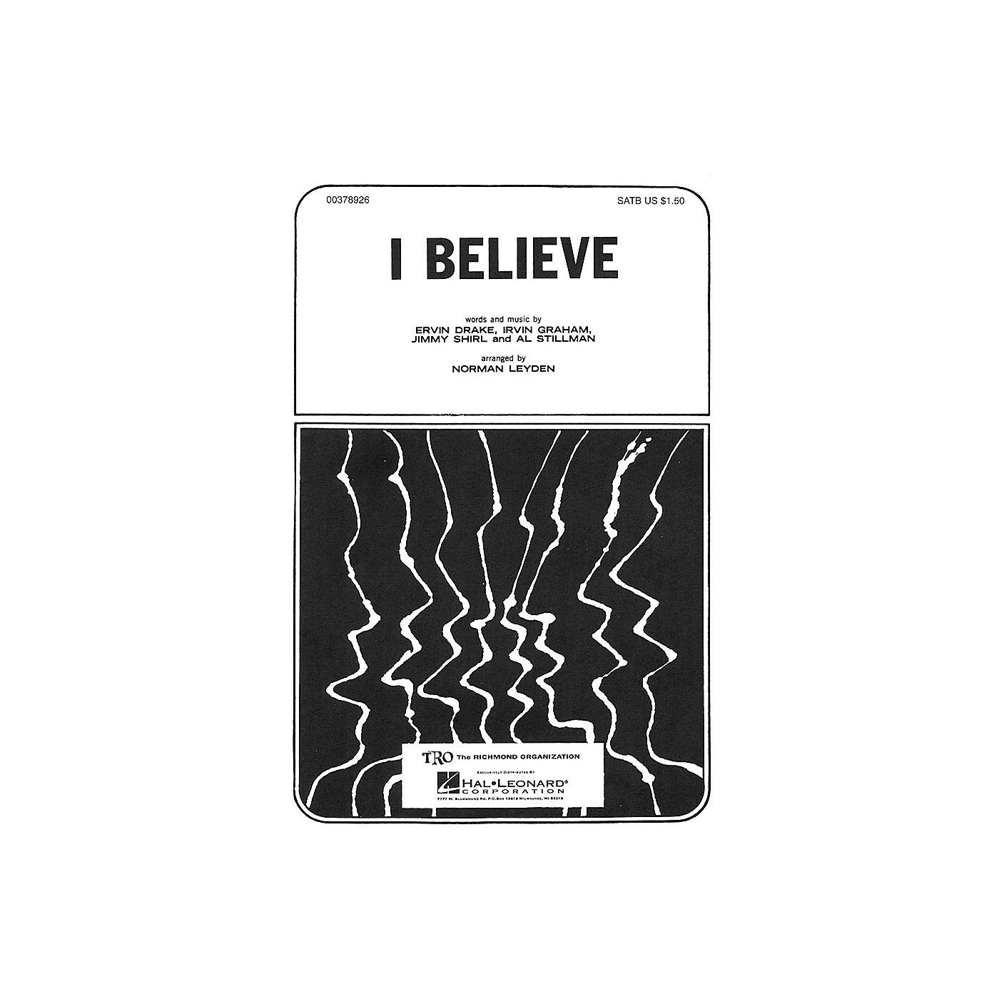 TRO ESSEX Music Group I Believe TTBB Arranged by Norman Leyden thumbnail