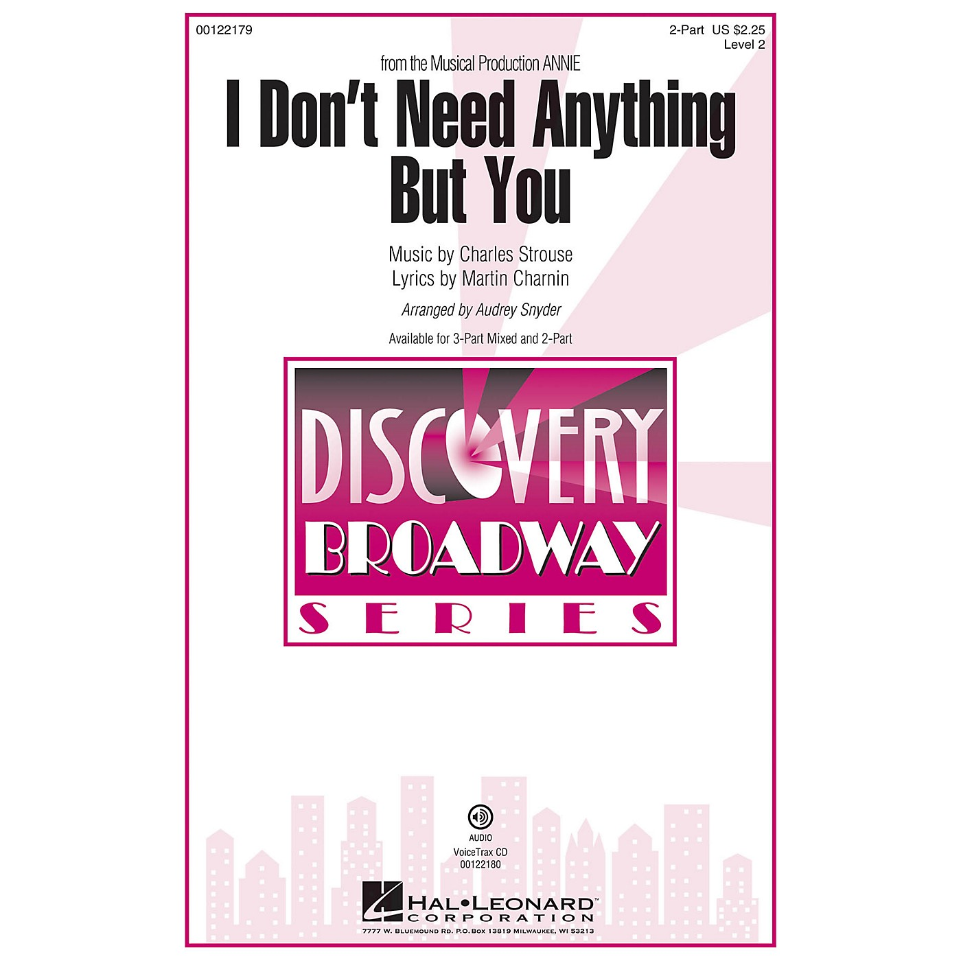 Hal Leonard I Don't Need Anything But You (from Annie) Discovery Level 2 2-Part arranged by Audrey Snyder thumbnail