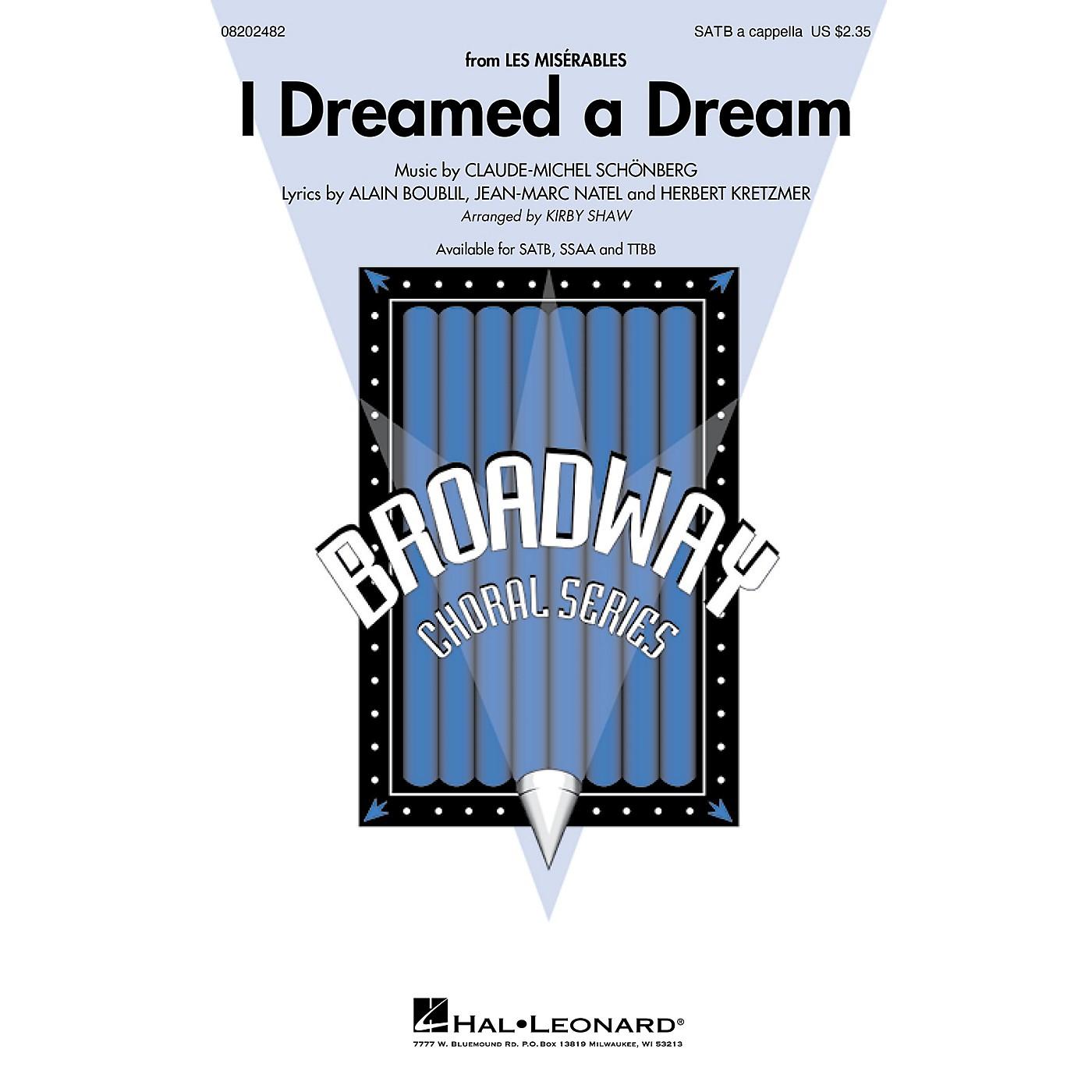 Hal Leonard I Dreamed a Dream (from Les Misérables) SATB a cappella arranged by Kirby Shaw thumbnail