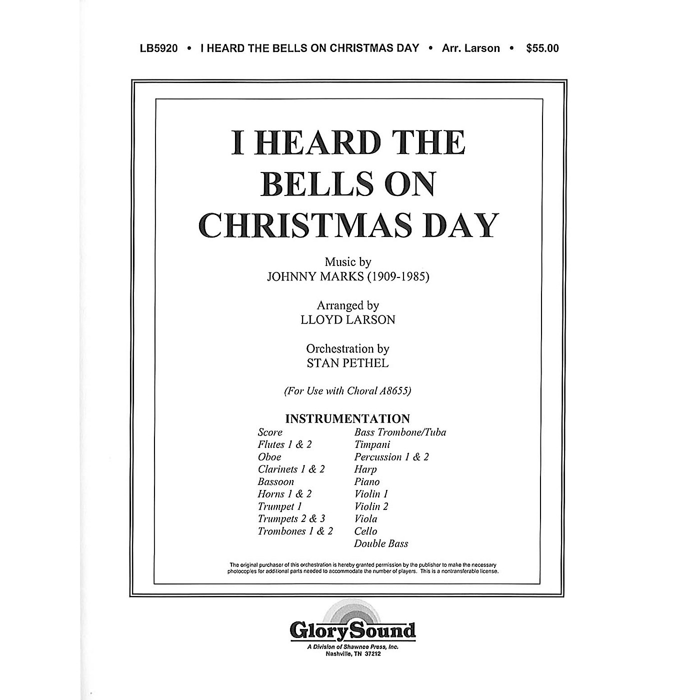 Shawnee Press I Heard the Bells on Christmas Day INSTRUMENTAL ACCOMP PARTS arranged by Lloyd Larson thumbnail
