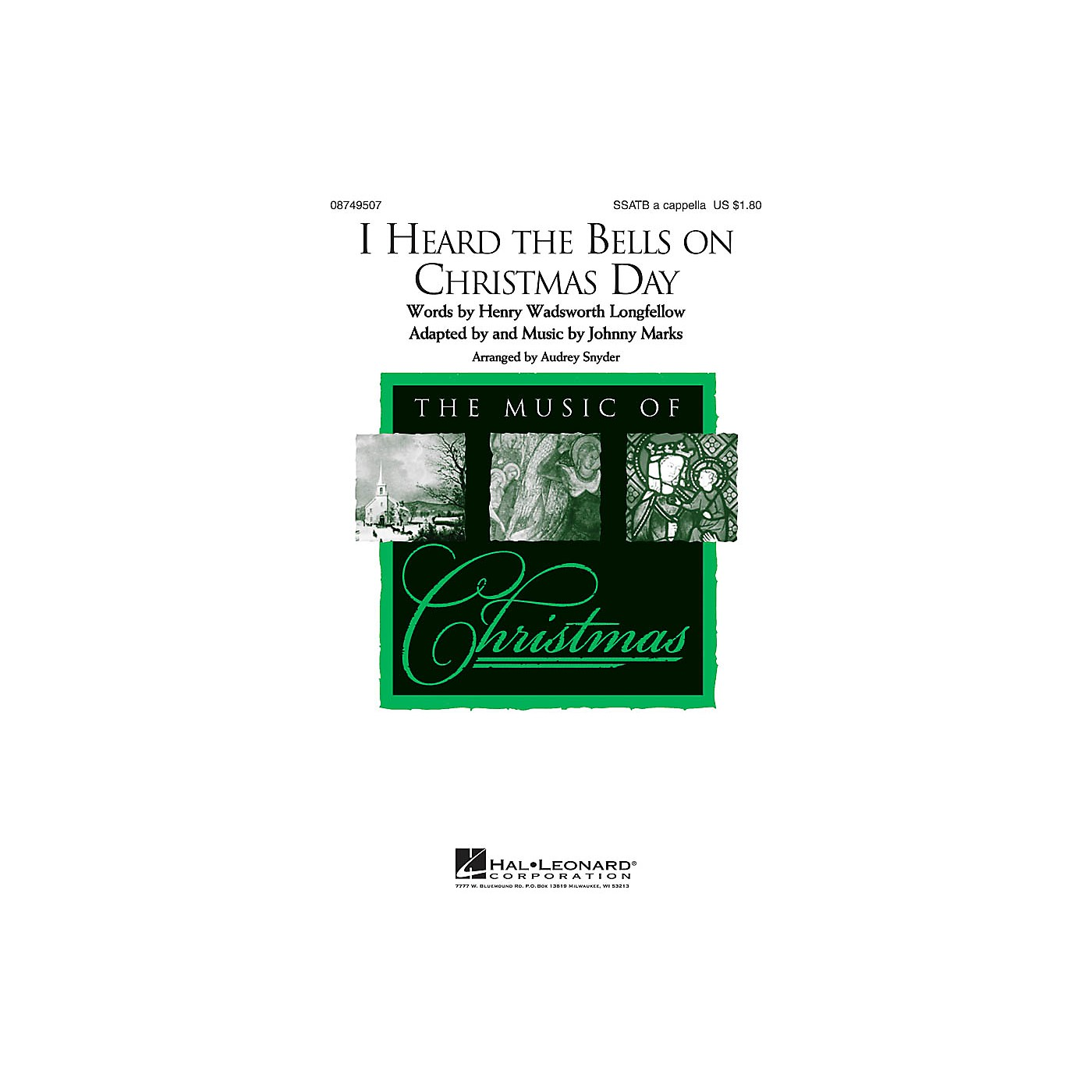 Hal Leonard I Heard the Bells on Christmas Day SSATB A Cappella arranged by Audrey Snyder thumbnail