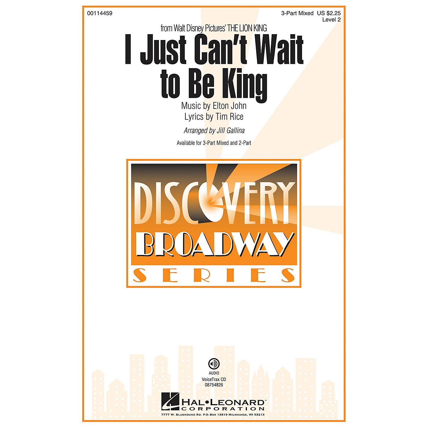 Hal Leonard I Just Can't Wait to Be King (from The Lion King) 3-Part Mixed arranged by Jill Gallina thumbnail