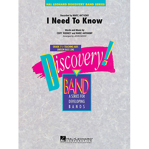 Hal Leonard I Need To Know Concert Band Level 1 1/2 Arranged by John Moss thumbnail